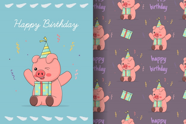 Cute happy birthday piggy seamless pattern and card
