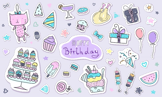 Cute happy birthday sticker collection in doodle style