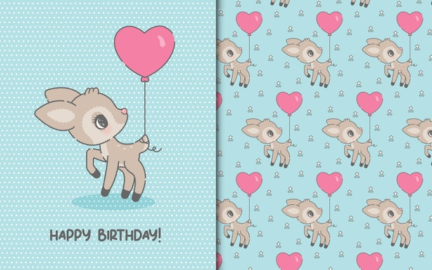 Cute happy birthday template card with kawaii deer and seamless pattern