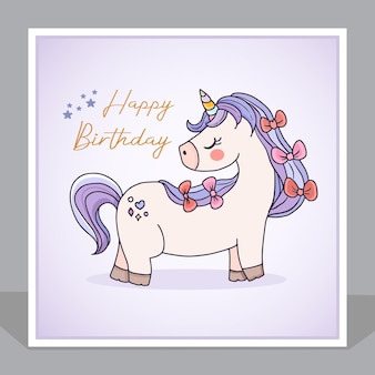 Cute happy birthday unicorn cartoon invitation card