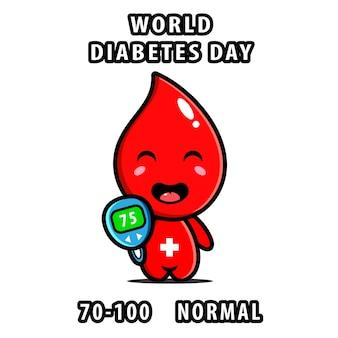 Милая счастливая капля крови с характером устройства измерения глюкозы. плоский стиль иллюстрации шаржа дизайн иконок.