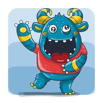 Милый счастливый синий монстр с рогом мультфильм