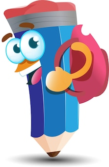 Cute happy blue pencil cartoon mascot character with backpack