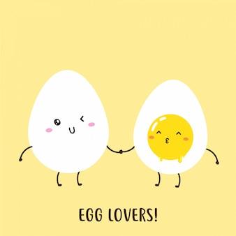 Симпатичные счастливые вареные яйца вектор дизайн