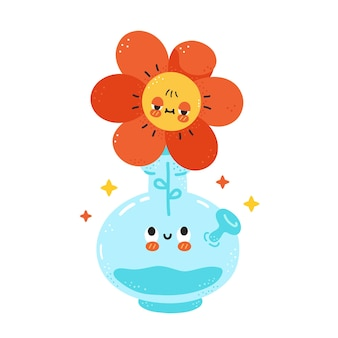 Cute happy bong with flower character