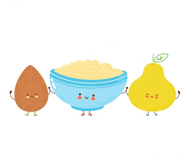 Cute happy bowl of oatmeal porridge,almond and pear. cartoon character hand drawn style illustration. oat breakfast cup concept Premium Vector