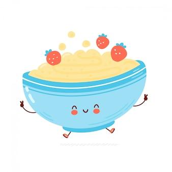 Cute happy bowl of oatmeal porridge. cartoon character hand drawn style illustration. oat breakfast cup concept Premium Vector