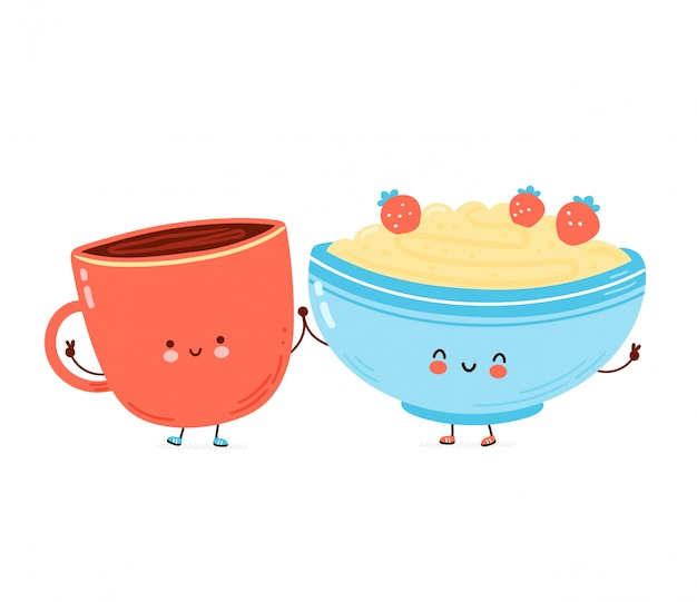 Cute happy bowl of oatmeal porridge and coffee cup. cartoon character hand drawn style illustration. oat breakfast cup concept