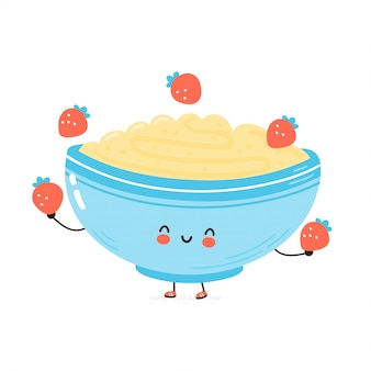 Cute happy bowl of oatmeal porridge juggle strawberry. cartoon character hand drawn style illustration. oat breakfast cup concept