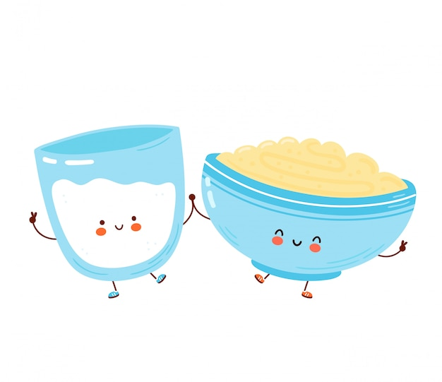 Cute happy bowl of oatmeal porridge and milk glass. isolated.  cartoon character hand drawn style illustration. oat breakfast cup concept
