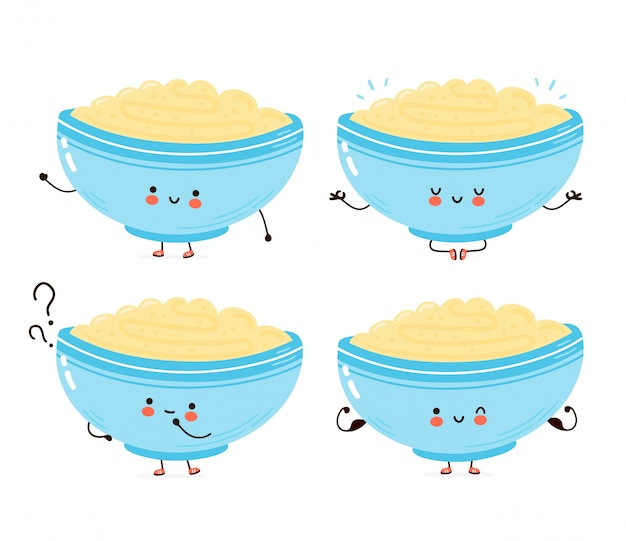 Cute happy bowl of oatmeal porridge set collection. cartoon character hand drawn style illustration. oat breakfast cup concept
