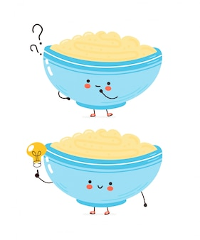 Cute happy bowl of oatmeal porridge with question mark and idea lightbulb. cartoon character hand drawn style illustration. oat breakfast cup concept