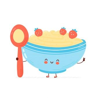 Cute happy bowl of oatmeal porridge with spoon Premium Vector