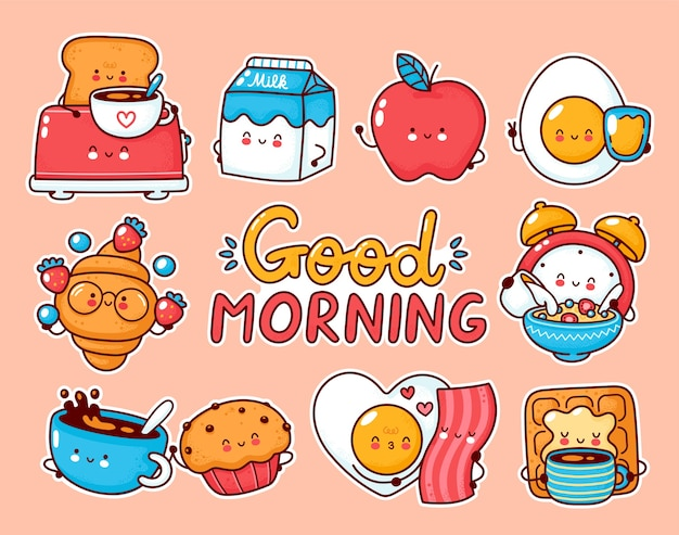 Cute happy breakfast food set collection. cartoon kawaii character stickers.