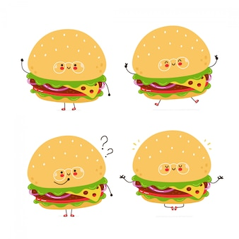 Cute happy burger characters set