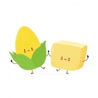 かわいい幸せなバターとトウモロコシのキャラクター。白い背景で隔離されました。漫画キャラクター手描きスタイルイラスト