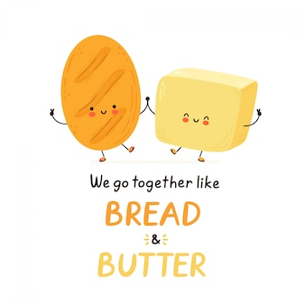 Cute happy butter character. isolated on white background.  cartoon character hand drawn style illustration