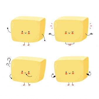 Cute happy butter character set collection. isolated on white background.  cartoon character hand drawn style illustration