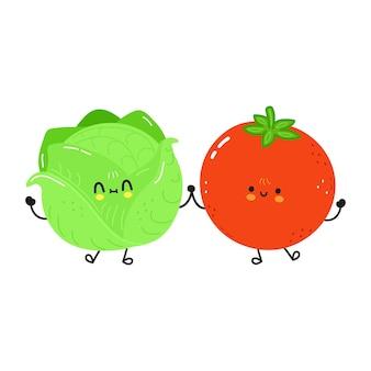 귀여운 행복 양배추와 토마토 친구 개념