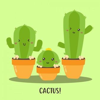 Cute happy cactus collection vector design