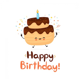 Cute happy cake with one candle happy birthday card