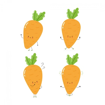 Cute happy carrot character set collection. isolated on white . vector cartoon character illustration design, simple flat style. carrot walk,train,think,meditate concept