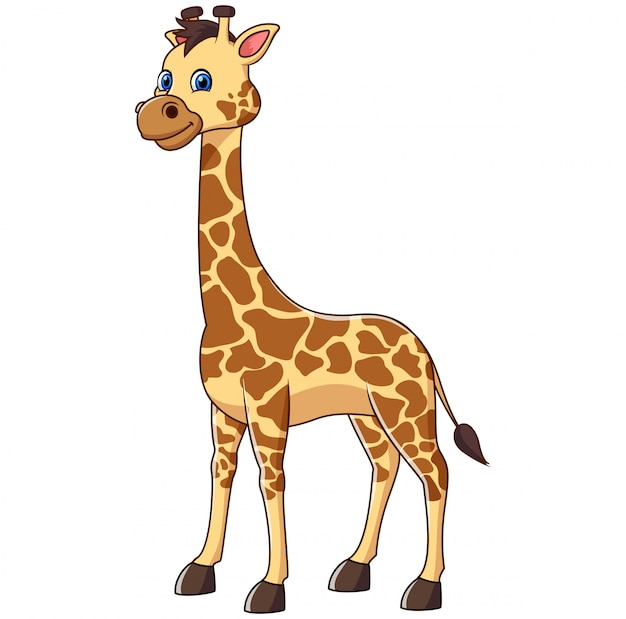 Cute happy cartoon giraffe standing