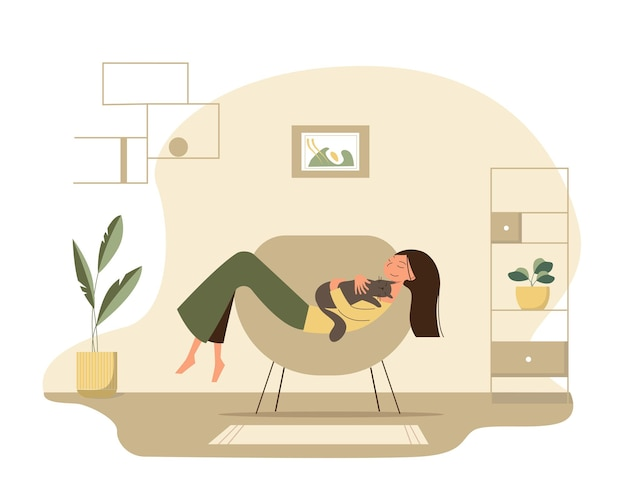 Cute happy cartoon girl lying in a chair in a cozy room and hugs her cat.