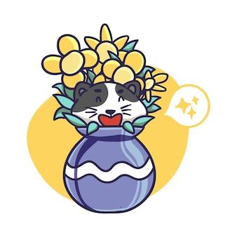 Cute happy cat hide inside a flower vase illustration
