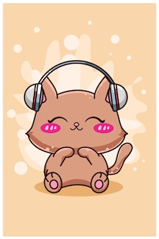 Cute and happy cat with earphone cartoon
