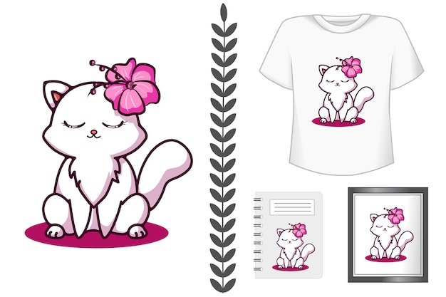 Cute and happy cat with flower cartoon illustration