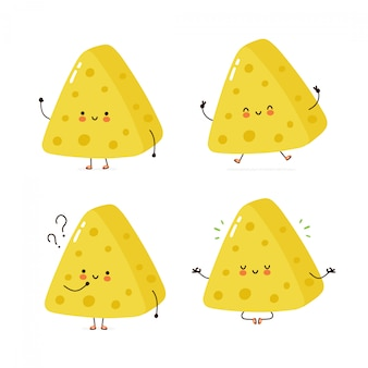 Cute happy cheese character set collection. isolated on white . vector cartoon character illustration design, simple flat style. cheese bag walk,train,think,meditate concept