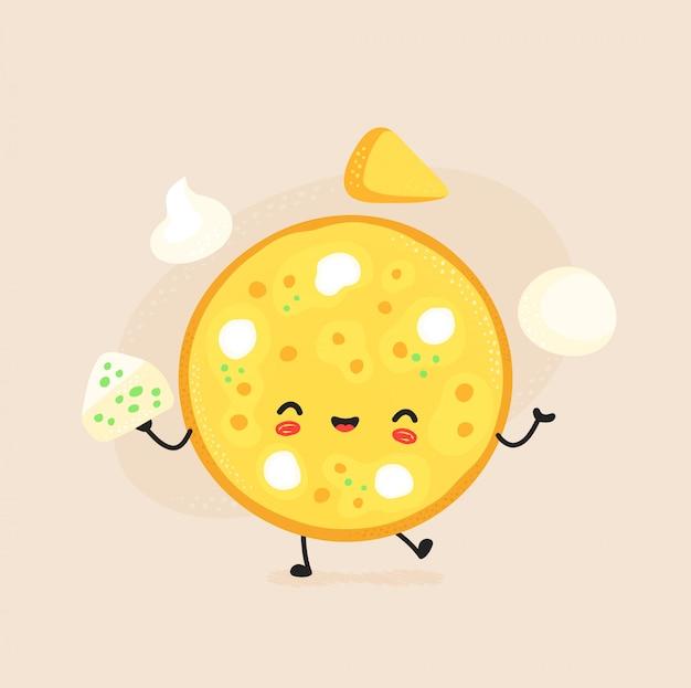 かわいい幸せチーズピザのキャラクター。フラット漫画イラストアイコン。白で隔離。ピザのキャラクター