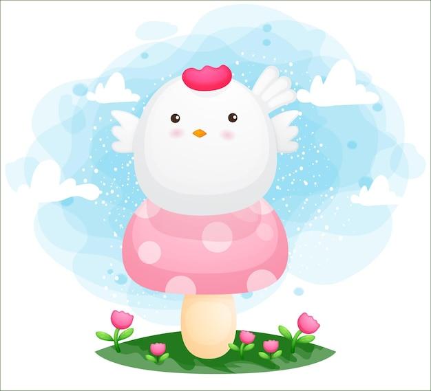 Cute happy chicken sit on the mushroom top