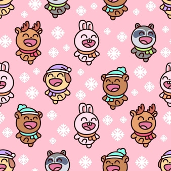 Cute happy christmas characters seamless pattern in pink background
