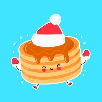 青で隔離かわいい幸せなクリスマスのパンケーキ