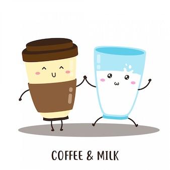 Симпатичные счастливый кофе и парное молоко дизайн вектор