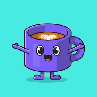 Illustrazione felice sveglia dell'icona del fumetto della tazza di caffè.