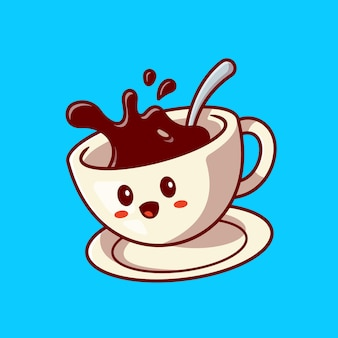 Cute happy coffee cup cartoon vector icon illustration. drink character icon concept. flat cartoon style