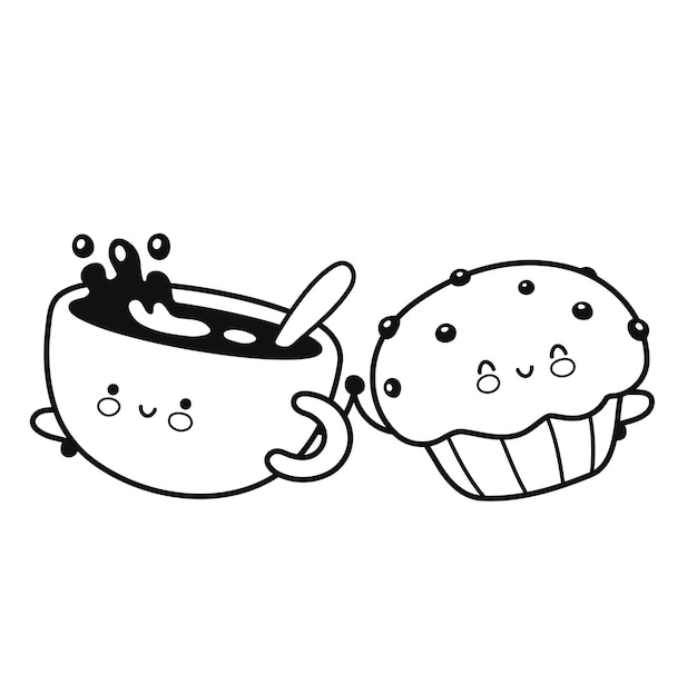 かわいい幸せなコーヒーマグとマフィンケーキの着色のページ。ベクトルフラットライン漫画カワイイキャラクターアイコン。手描きスタイルのイラスト。白い背景で隔離。コーヒーとマフィンの着色のページブック