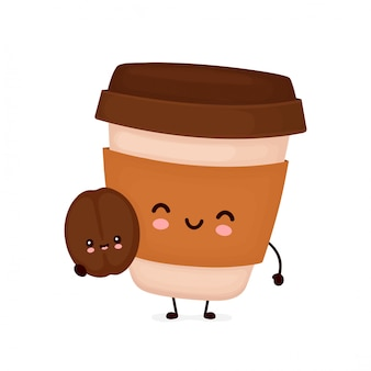 Cute happy coffee paper cup with brown bean.