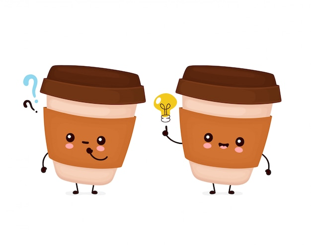 Cute happy coffee paper cup with question mark and idea lightbulb.