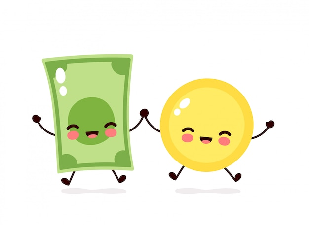 Cute happy coin and money banknote jump character.