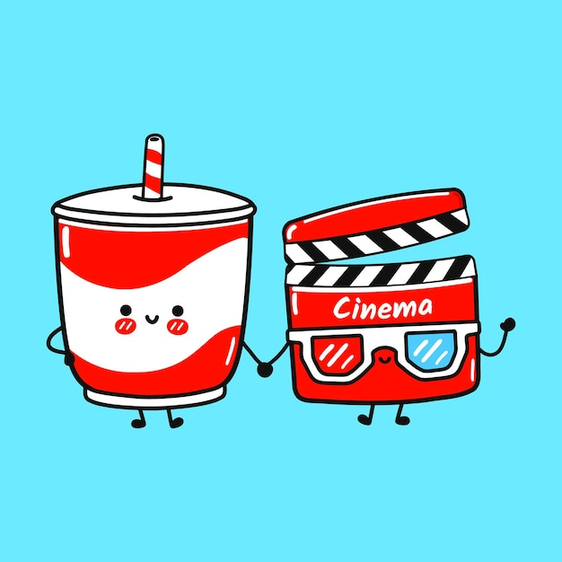 Cute happy cold drink and clapperboard friends concept