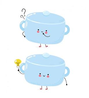 疑問符とアイデアの電球が付いたかわいい幸せな鍋料理のキャラクター。白い背景で隔離されました。漫画キャラクター手描きスタイルイラスト
