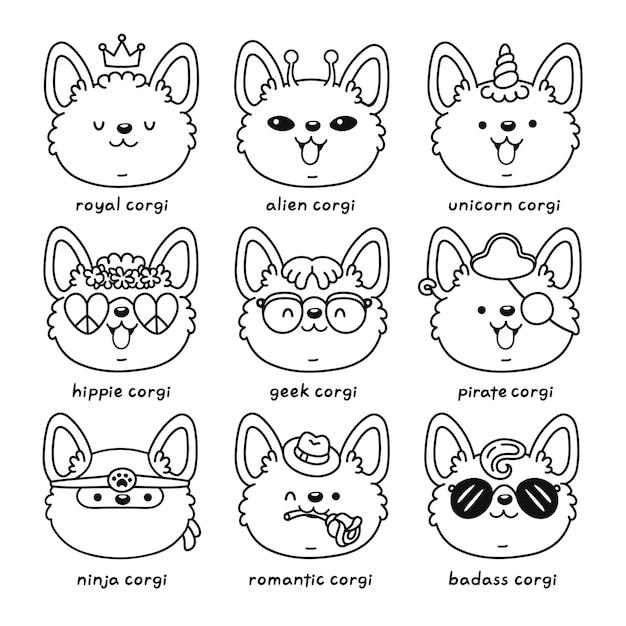 귀여운 행복 코기 강아지 얼굴 세트 컬렉션