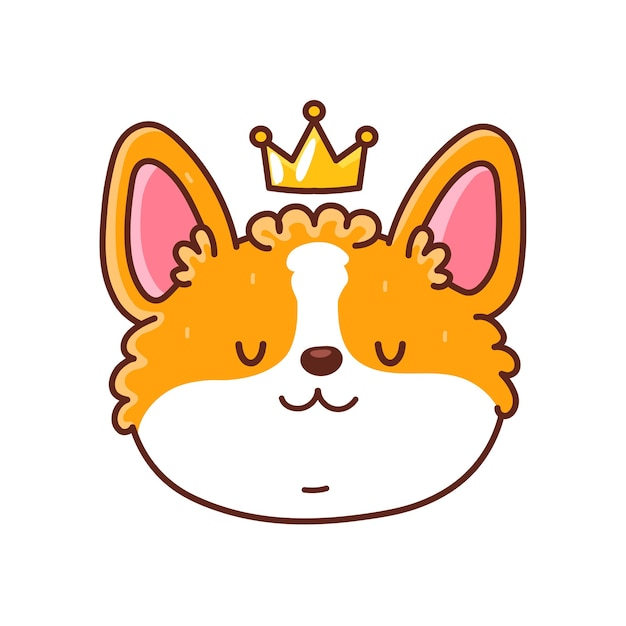 Cute happy corgi dog face with crown