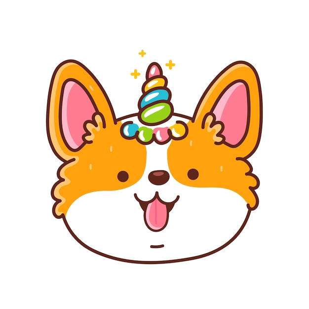 Cute happy corgi dog face with unicorn horn