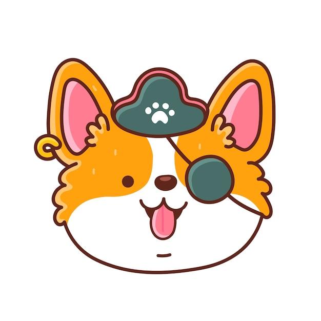Милая счастливая собака корги в пиратской шляпе и повязке на глазу. значок персонажа мультфильма каваи.