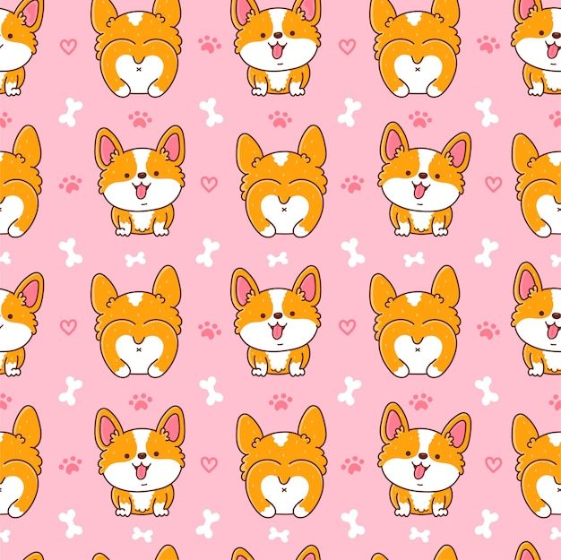 Cute happy corgi dog seamless pattern